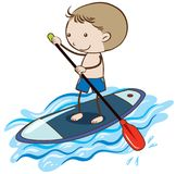 A Boy Stand Up Paddle Board royalty free illustration