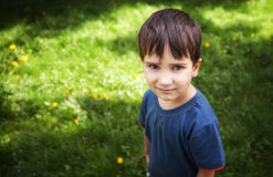 Boy standing against green grass background Royalty Free Stock Photos