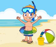 Boy at the beach in scuba gear. A boy standing on the beach with safety gear ball and buckey Royalty Free Stock Photos