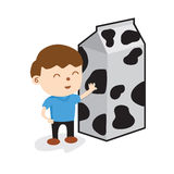 A Boy Standing With Carton Of Milk. Royalty Free Stock Photography