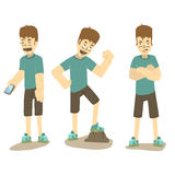 Boy standing in different poses. Royalty Free Stock Images