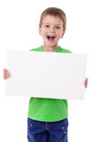Boy standing with empty blank Stock Image