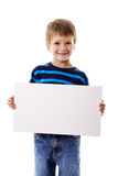 Boy standing with empty blank Stock Photography