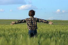 The boy is standing in the field. The guy is standing in the field with his arms wide apart stock photography