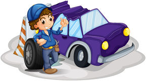 A boy standing in front of a wheel beside the damaged car. Illustratio of a boy standing in front of a wheel beside the damaged car on a white background Royalty Free Stock Photo