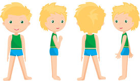 Boy standing full face, profile and back Royalty Free Stock Image