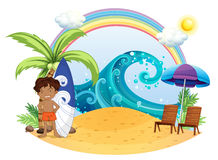 A boy standing beside his surfing board at the beach. Illustration of a boy standing beside his surfing board at the beach on a white backgroud vector illustration