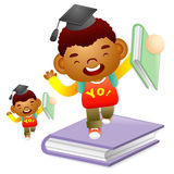 Boy standing on a large book. Education and life Character Desig Stock Images