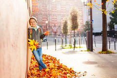 Boy standing in leaf pile, holding autumnal bunch Royalty Free Stock Photos