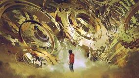 Boy looking at broken golden gears. Boy standing and looking at broken golden gear wheels, digital art style, illustration painting stock illustration