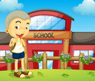 A boy standing near the school. Illustration of a boy standing near the school Stock Images