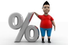 Boy Standing Near To Percentage Symbol Royalty Free Stock Images
