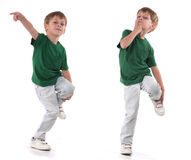 Boy standing on one leg Stock Images