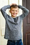 Boy standing portrait royalty free stock photography
