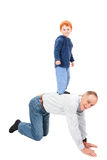 Boy standing riding grandfather back. Boy standing and riding on grandfather's back. Isolated on white Royalty Free Stock Image