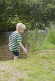 Boy standing in shallow river Stock Image