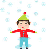 Boy standing in the snow Royalty Free Stock Images