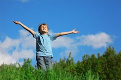 Boy standing with spreading hands on field Stock Photo