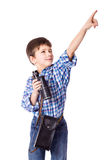 Boy standing with spyglass Stock Photography