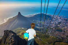 The boy standing on top of Table Mountain Stock Photo