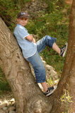 Boy standing in tree. A boy leaning on tree royalty free stock photos