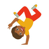 Boy Standing Upside Down On One Hand Dancing Breakdance Performing On Stage, School Showcase Participant With Musical stock illustration