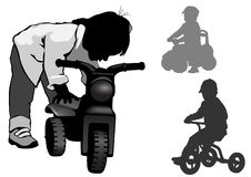 A boy stands with a bike. A boy stands with a motorcycle. Walk on the bike. Silhouette on a white background Royalty Free Stock Photos