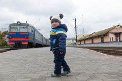 Boy stands on the platform Royalty Free Stock Images