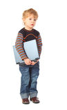 Boy Stands With Laptop In Hands Stock Image