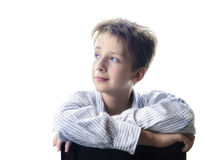 Boy staring at blank space Stock Photos