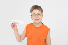 Boy starts paper plane Stock Photography