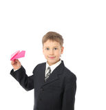 Boy starts paper plane Stock Photos