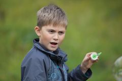 The boy starts up soap bubbles Stock Photography