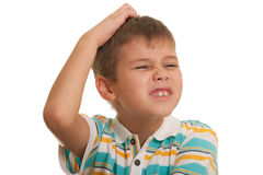Boy starving a headache Stock Photo