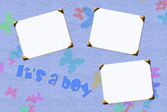 Boy stationary. Baby boy blank photo inserts for stationary and scrapbooking Stock Photo