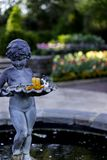 Boy statue with Day Lilly flower in the Garden. Day Lilly flower lying in the tray held by the statue in the center of the wishing well with the garden flowers Stock Photo