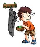 Boy Stealing money Stock Photo