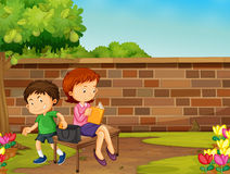 Boy stealing woman wallet in the park Stock Image
