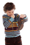 Boy with stinky  shoe Royalty Free Stock Photos