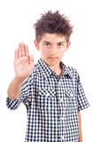 Boy stop sign Royalty Free Stock Image