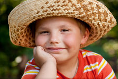 Boy in a straw hat Royalty Free Stock Photos