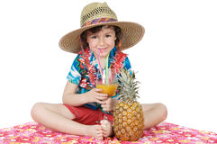 Boy in Straw Hat with Pineapple Royalty Free Stock Image