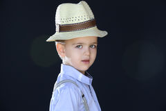 Boy with straw hat Royalty Free Stock Images