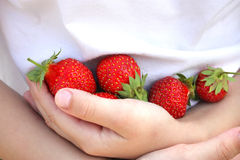 Boy with a strawberry. Royalty Free Stock Photos