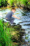Boy by a Stream. A young little boy exploring and playing by a stream in the woods. Shallow depth of field Stock Image