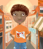 Boy in the street. A stylized illustration of a young boy with curly hair, standing in the middle of a street lined with shop houses Royalty Free Stock Photos