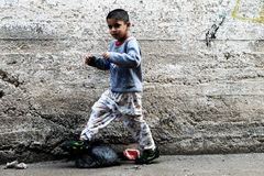 Boy in the street of Ramallah Stock Images