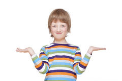 Boy Stretching out his Arms with Palms up, Looking, Smiling Stock Photos
