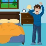 Wake up design. Boy stretching of wake up morning awake and routine theme Vector illustration Royalty Free Stock Image