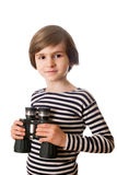 A boy in the striped vest with binoculars Royalty Free Stock Photos